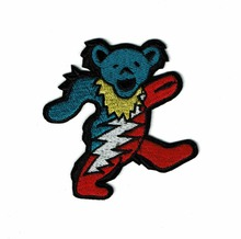 Custom embroidered patches cute walking bear customized embroidery with your logo design giveaway gifts