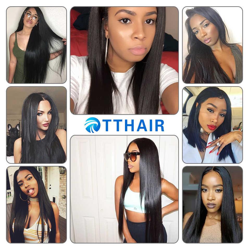 TTHAIR перуанские прямые волосы 3 пучка с закрытием шнурка натуральный цвет не Реми 8-28 дюймов человеческие волосы переплетения пучки с закрытием