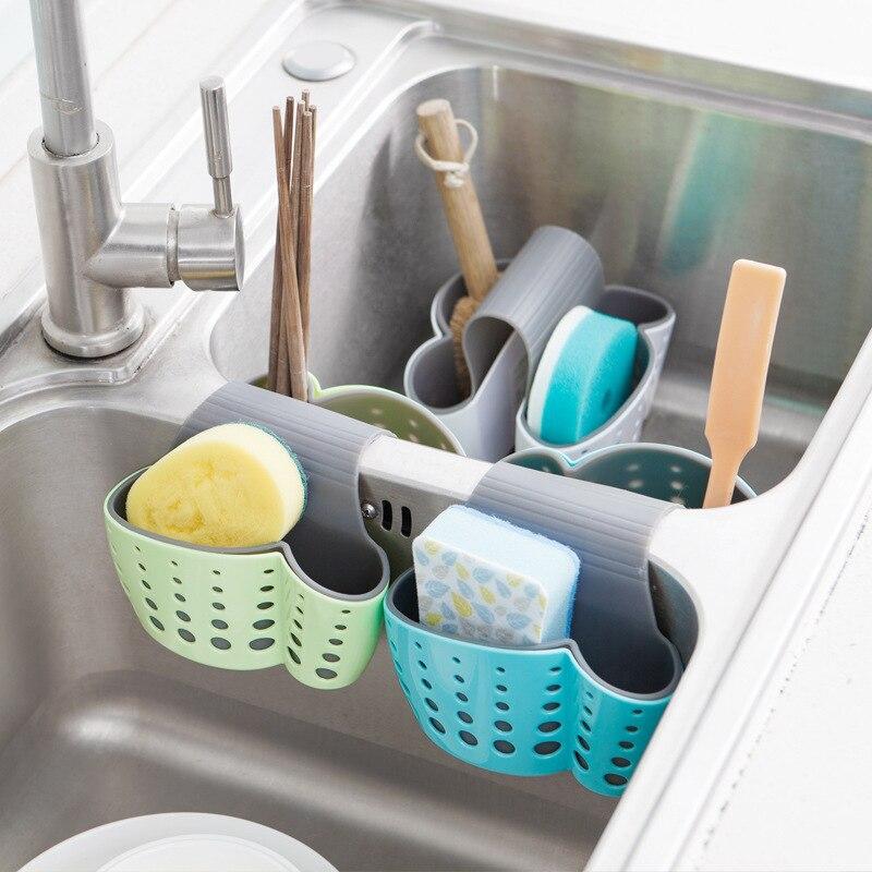 HARKO Kitchen Accessories Adjustable Sink Drain Hanging Basket Storage Hanger Suction Cup Sink Shelf Soap Sponge Drain Rack