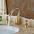 Gold Finish Swan Neck Spout Bathroom Basin Faucet With Two Crystal Handles Mixer Tap Free Shipping
