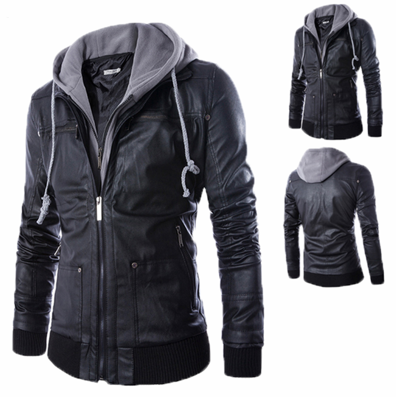 New Brand Quality Men Spring Autumn Motorcycle Black PU Casual Coats And Jackets with Detachable Hooded