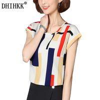 DHIHKK Women Short Sleeve Women Blouse Summer Colorful Striped Shirt Elegant Tops Chiffon Shirts Blouses Blusas
