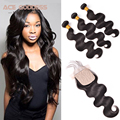 Cheap 4 Bundles With Closure Unprocessed 7a Brazilian Body Wave  With Closure 3 part Silk Base Closure Human Hair With Closure