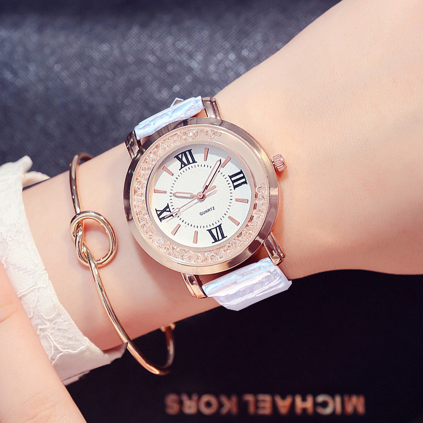 цены Ladies Fashion Quartz Watch Women Rhinestone PU Leather Casual Dress Women's Watch Rose Gold Crystal reloje mujer montre femme