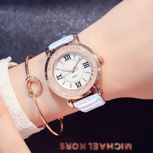 Ladies Fashion Quartz Watch Women Rhinestone PU Leather Casual Dress Women's Watch Rose Gold Crystal reloje mujer montre femme