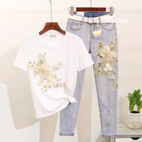 Taotrees Female Summer Sequins Embroidery Flower Short Sleeve T shirt + Ankle length Jeans 2piece Set Women