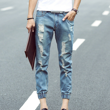 Мужчин джинсы отверстие дизайн slim-подходят 2016 весной свободного покроя брюки для мужчин хан издание мода карандаш брюки хлопка синие джинсы человек
