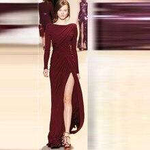 Prom Abendkleider 2016 Robe Ceremonie Femme Burgund Stricken Langarm Abendkleid für Frauen
