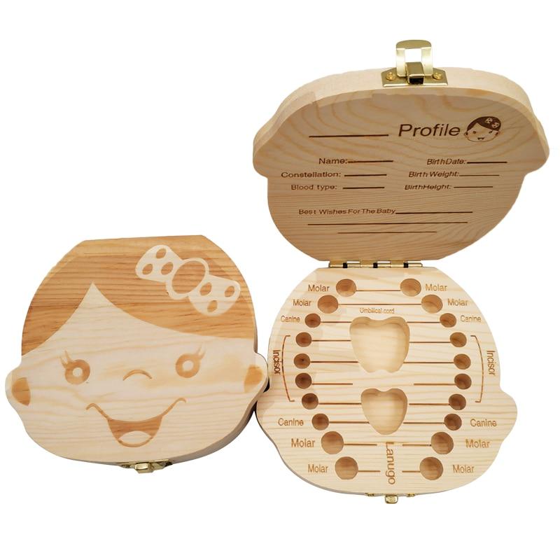 Wooden Storage Box For Baby Kids Tooth Box Organizer Storage Box For Baby Milk Teeth Collect Organizador Spanish&English Case