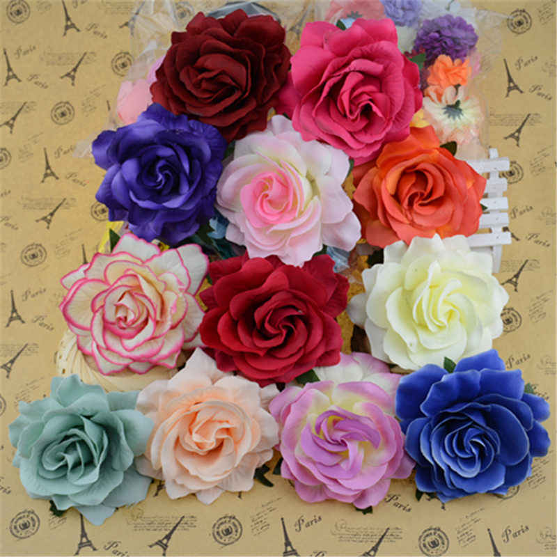 20pcs/lot 10cm Big Silk Blooming Roses Artificial Flower Head For Wedding Decoration DIY Wreath  Scrapbooking Craft Flower