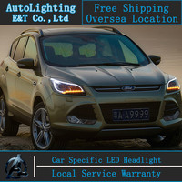 Car styling Diodowa Głowy dla Ford Kuga led reflektory 2013-2014 Ucieczka angel eye drl H7 hid Bi-ksenonowe Obiektywu niskie wiązka