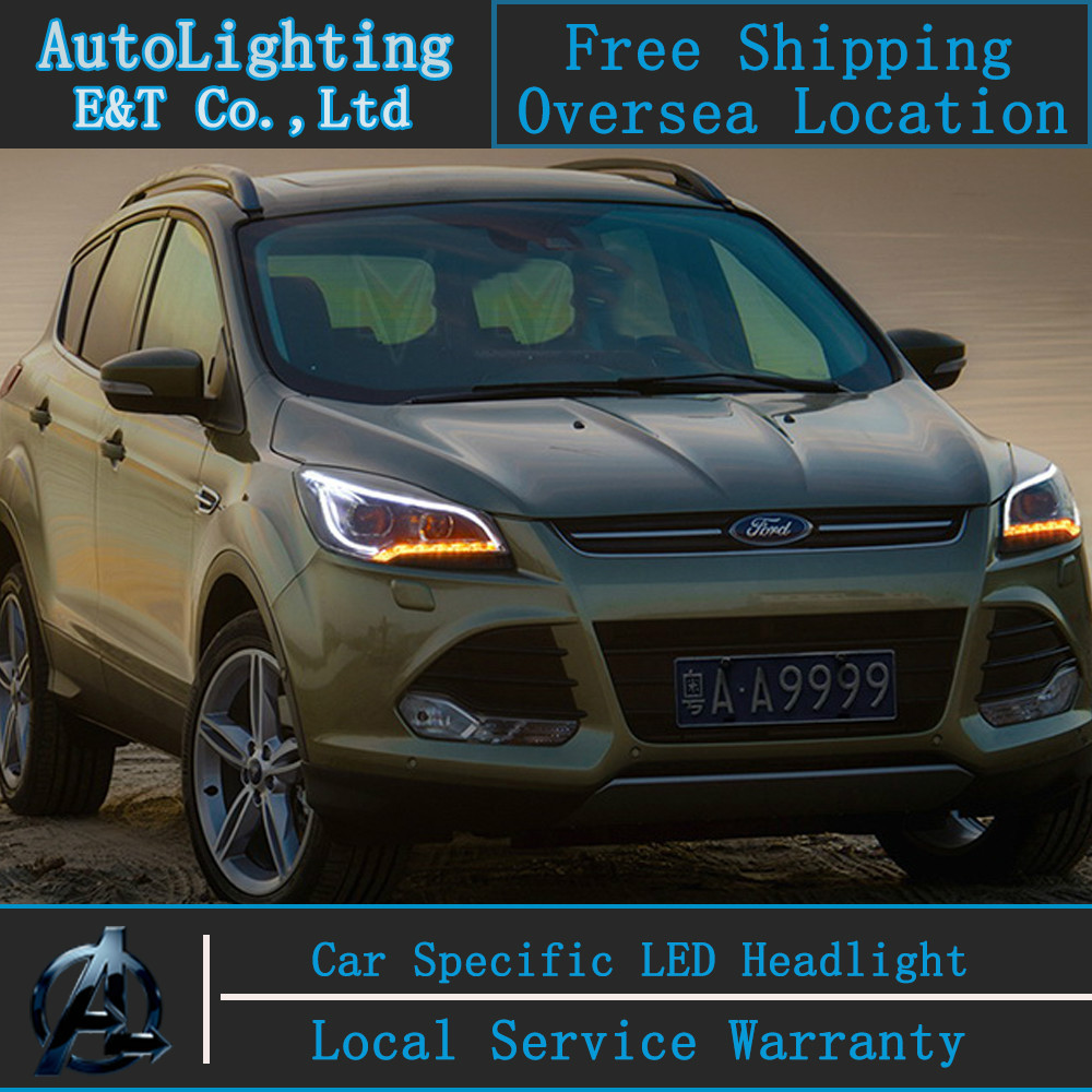 Car styling LED Head Lamp for Ford Kuga led headlights 2013-2014 Escape angel eye drl H7 hid Bi-Xenon Lens low beam auto clud style led head lamp for benz w163 ml320 ml280 ml350 ml430 led headlights signal led drl hid bi xenon lens low beam