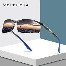 Veithdia Aluminum Magnesium Semi rimless Sunglasses Polarize