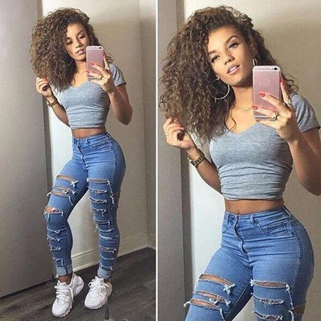 Mulheres Calça Jeans de Cintura Alta Senhoras Rasgado Calças Mulheres  Parece Buraco Moda Jeans Stretch Lápis 3f4e770a0b3