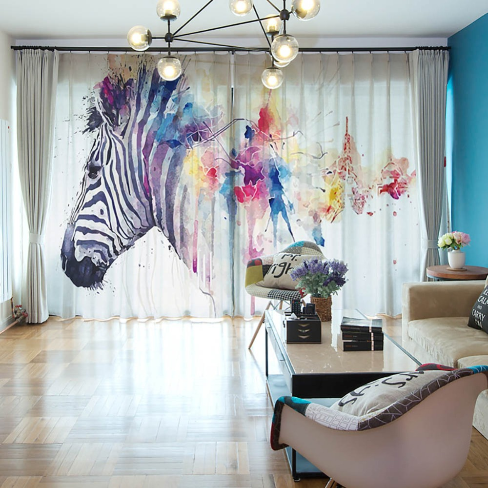 Meijuner 3D Digital Printing Tulle Window Curtain Fantasy Voile Curtain Polyester Shading Curtain Sheers for Living Room A013 in Curtains from Home Garden