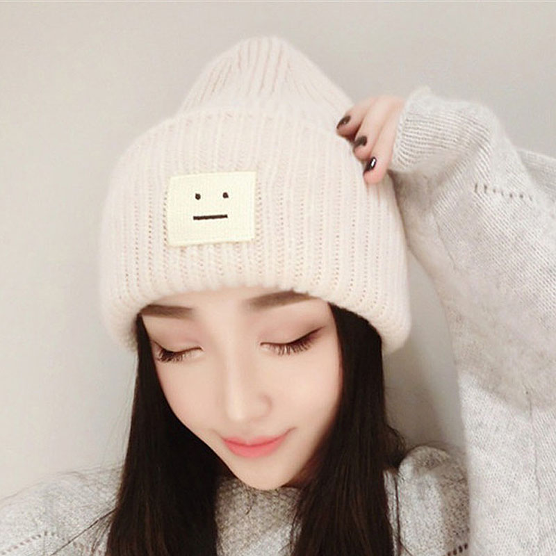 59fe3b2f324 Fashion New Adult Men Women Male Female Warm Winter Knitted Beanies Hat  with Smile Face Tag