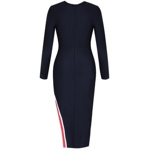 Image 4 - Женское облегающее платье миди Ocstrade, черное облегающее платье из вискозы с длинным рукавом для клувечерние, 2019