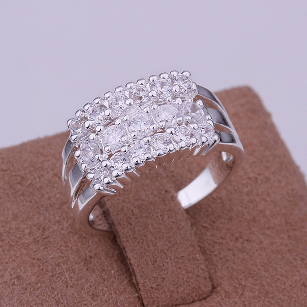 Valentines Day Gift Silver Plated Rings New Design Finger Ring for Lady Women US Size 8 Cocktail Party Indispensable Accessory