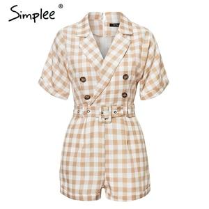 Image 5 - Simplee V neck short sleeve plaid women playsuit Elegant casual streetwear summer jumpsuit romper Sash belt ladies overalls 2019