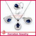 Carraton SXF3002 Ocean Blue Водослива Камень Белый Позолоченный Ювелирные Наборы