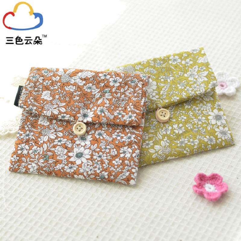 4pcs/lot cotton floral printing womens change coin purse female bags ladies handbag wallet girls napkin paper organizer pouch