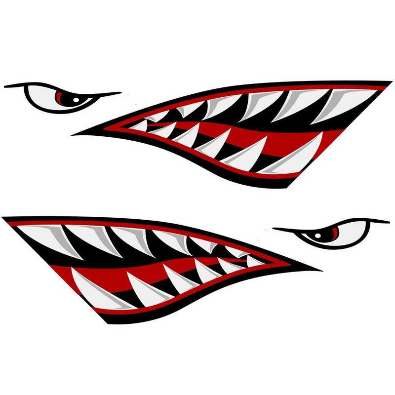 15x5 inch Car Fishing Stickers lemon Shark Mouth Sticker Teeth Reflective  Boat Decals Canoe Car Truck For Side Door Car Styling
