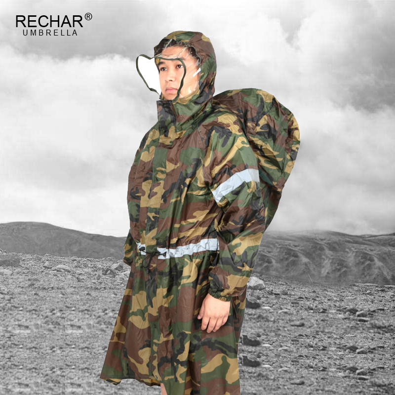 Outdoor Raincoat Waterproof Backpack Cover Reflective Strip Raincoat Poncho Rain Cape Outdoor Hiking Camping Unisex Rain
