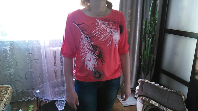 HTB1pPJeSXXXXXc3XpXXq6xXFXXXA - Summer Women Feather Printed T-shirts O- neck Strapless Shirts Off Shoulder