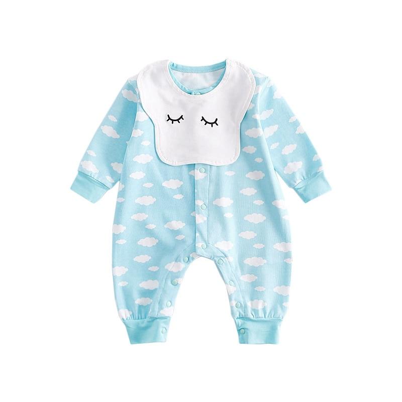 Newborn Bibs Romper Fashion Baby Boys Girl Cotton Jumpsuits Cloud Print Smile Face Bib Clothes Bebes Infantil Outfits