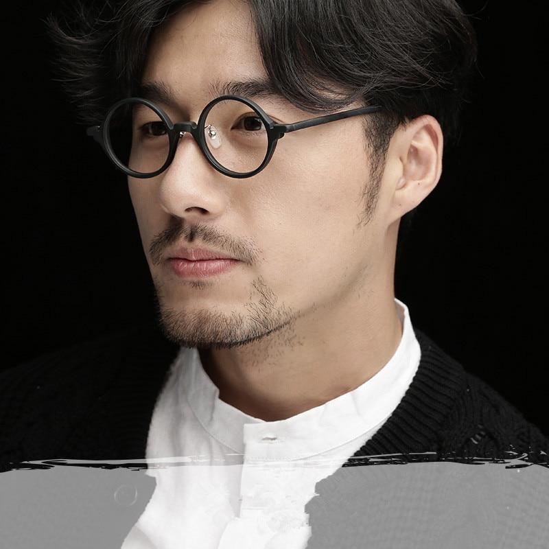Products Round Vintage Acetate Eyeglasses Handmade Full Eye Glasses Frame Clear Lens Optical Eyewear for Women Men Black Am