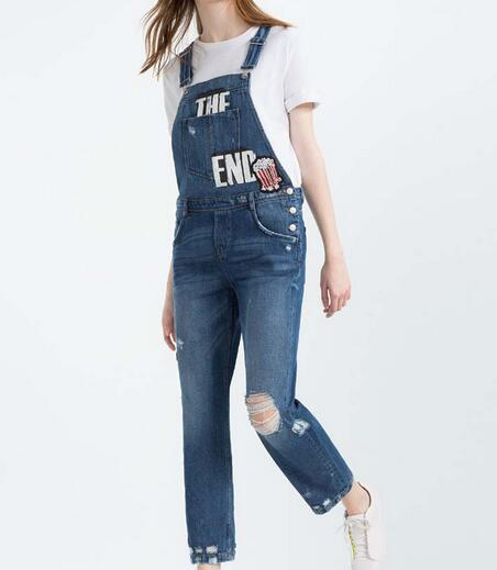 VogaIn 2016 Women Brand New Fashion Letters Printed I AM DENIM COLLECTION DUNGAREES WITH PATCHES Jeans Ripped Jumpsuit Overalls maison jules new blue women large l umbrella printed surplice jumpsuit $79 059