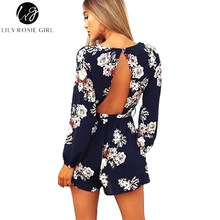 Lily Rosie Girl Sexy Backless Boho Print Long Sleeve Women Playsuits Floral Print Romper Belt Navy Blue Femme Jumpsuits Overalls(China)