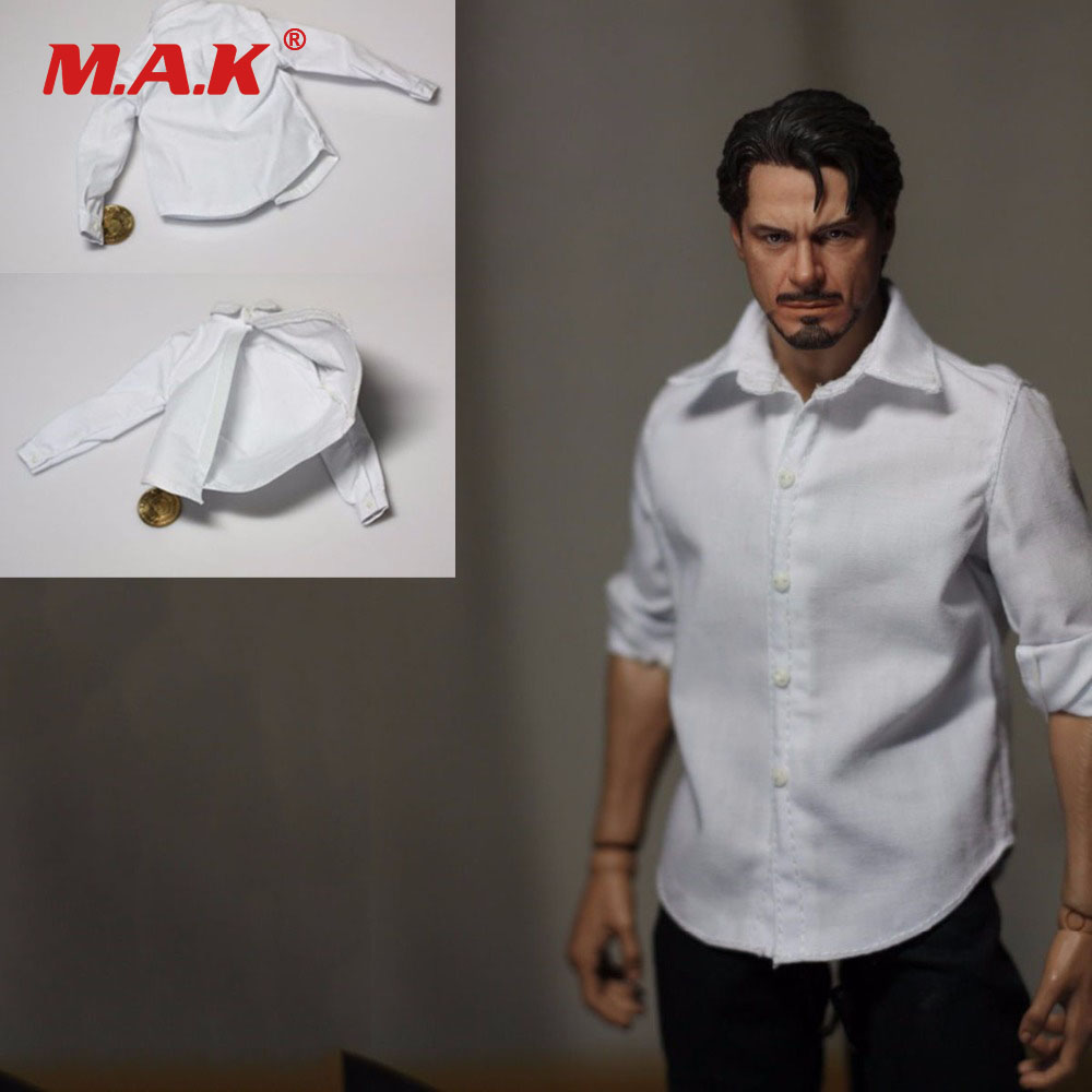 1:6 <font><b>Scale</b></font> <font><b>Male</b></font> <font><b>Clothes</b></font> Handsome Buttoned Classic White Shirt <font><b>Clothes</b></font> for 12 inches Man Body Figure image