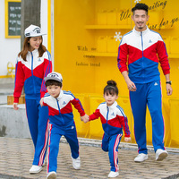 Family Matching Outfits autumn winter fashion stitching college wind suit mother /daughter / father/ son baby boy girl Clothes