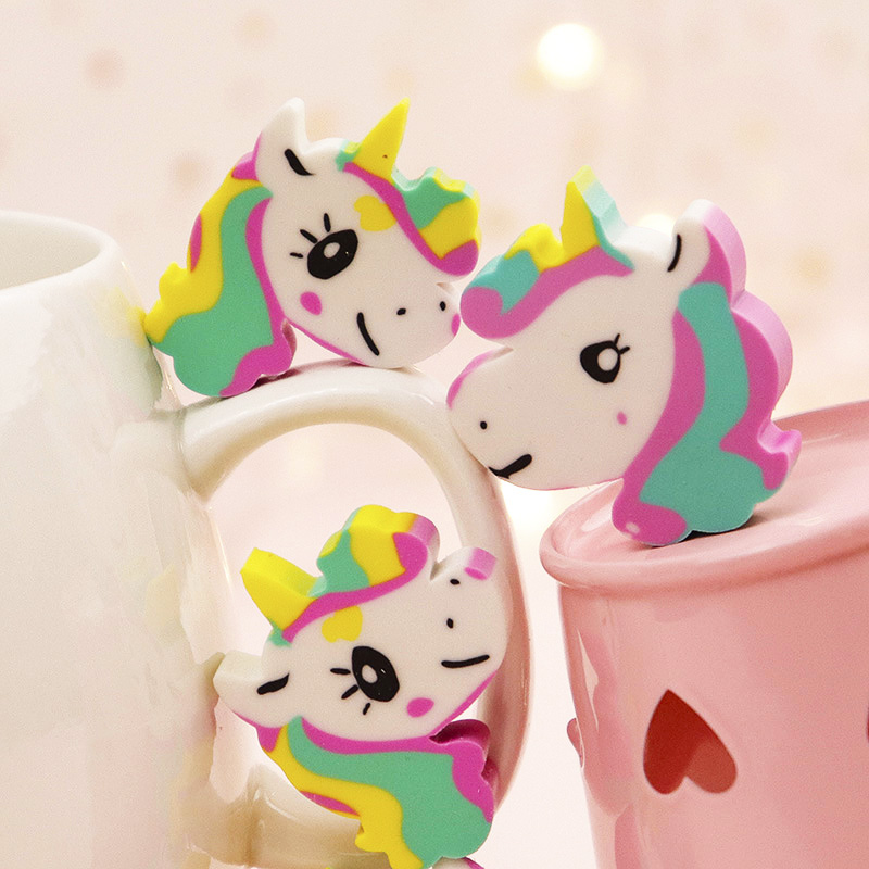 4pcs/lot Cute Cartoon Creative Unicorn Pencil Rubber Eraser Kawaii Animal Rubber For School Student Stationery Kids Prize Gift