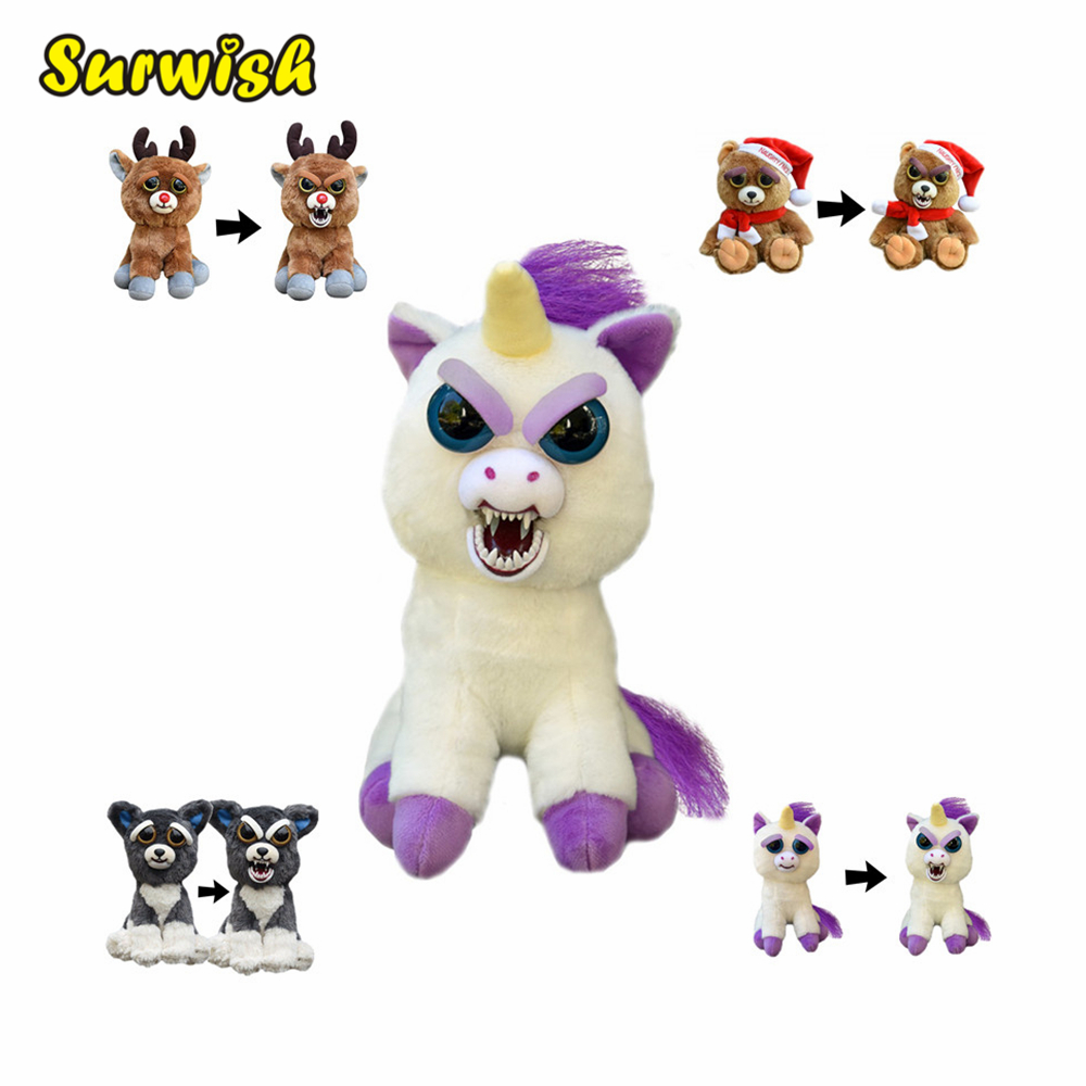 New Feisty Pets Change Face Funny Expression Animal Dolls Stuffed Plush Toys For Kids Cute Soft Cotton New Year Christmas Gifts