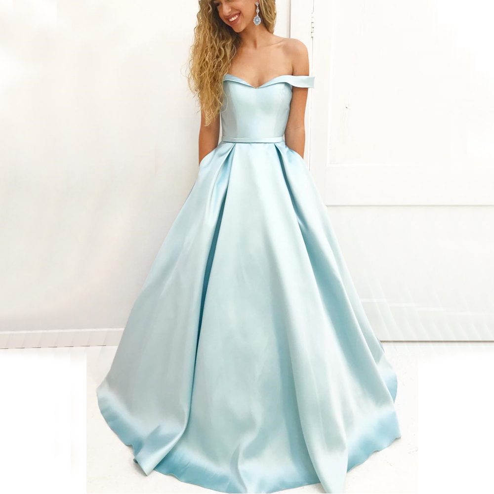 2019 Mint Blue Long   Bridesmaid     Dresses   Boat Neck A Line High Quality Satin Formal Gowns Custom Made Cheap Maid Of Honor   Dress