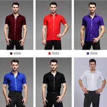 Черные, белые, красные мальчик Взрослый Латинский Топы Практика одежда мужская рубашка с коротким рукавом для латинских танцев рубашки Бальные Латинский сценический танцевальная рубашка