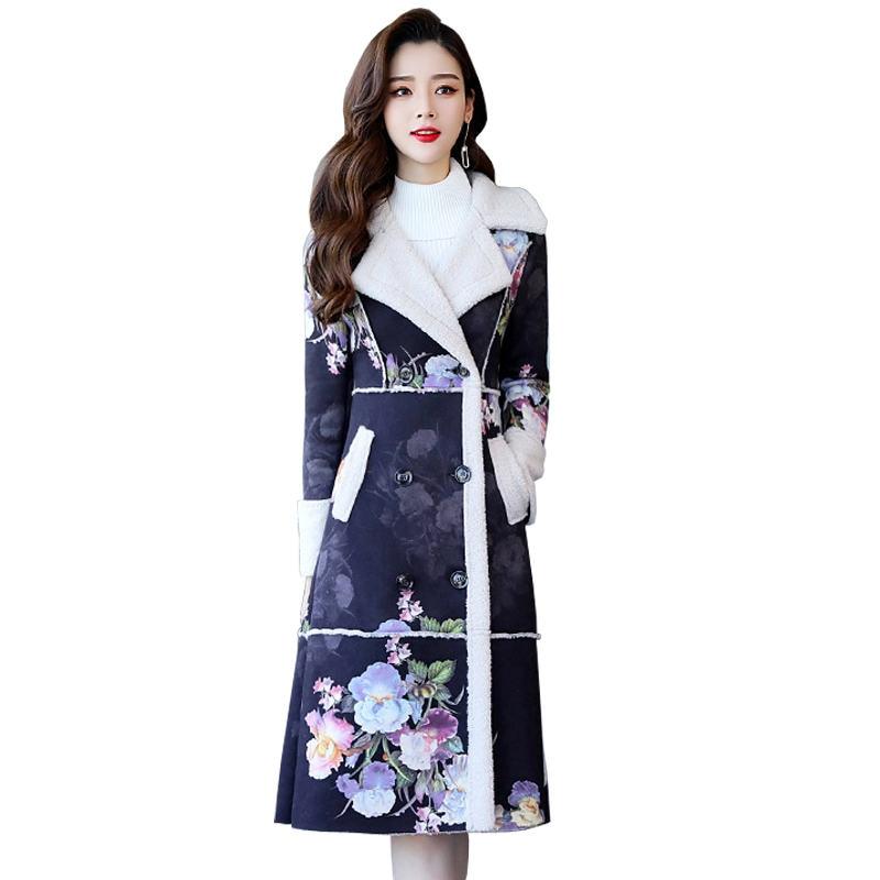 Mode Élégante Impression Suede Agneaux Laine Femmes Veste D'hiver Parka Feminina Épais Long Manteau Femmes Coton D'hiver Vestes C5103