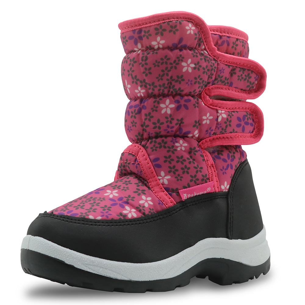 Image 2 - Apakowa Winter Waterproof Girls Boots Pu Leather Children's Shoes for Girls Mid Calf Warm Plush Snow Boots Rubber Winter Boots-in Boots from Mother & Kids