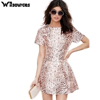 Witsources Women Sexy Leopard Print Dresses 2018 Summer New Short Sleeve Casual Mini Dresses SD4083