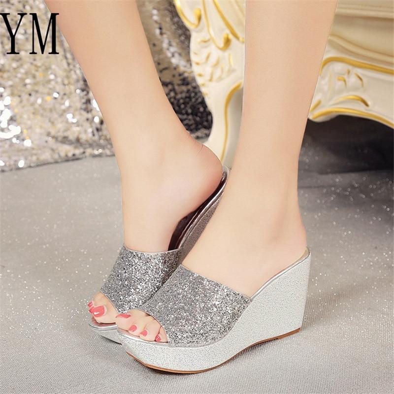 primavera Negro Sandalias 01 Bling La Toe Tacones Zapatillas Plataforma Mujer oro Moda plata Marca De Verano Peep Zapatos Las Mujeres Cuña xAUAvf