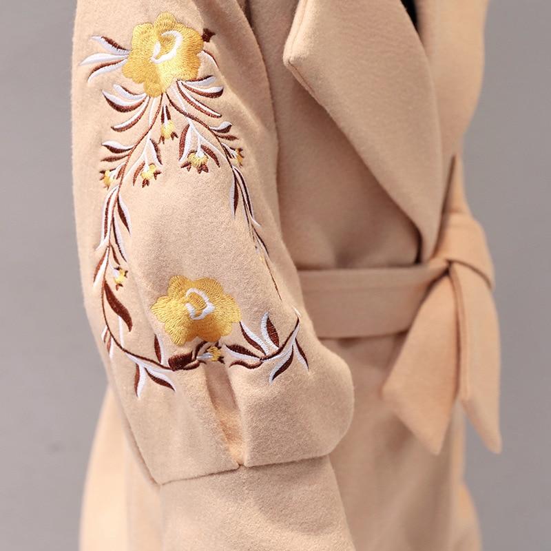 Manteau Coréenne Tissu Apricot Filles De Dames caramel Lanterne Laine 2017 Manches Broderie Color light Red Khaki Longue Mince Taille tgpw0qx