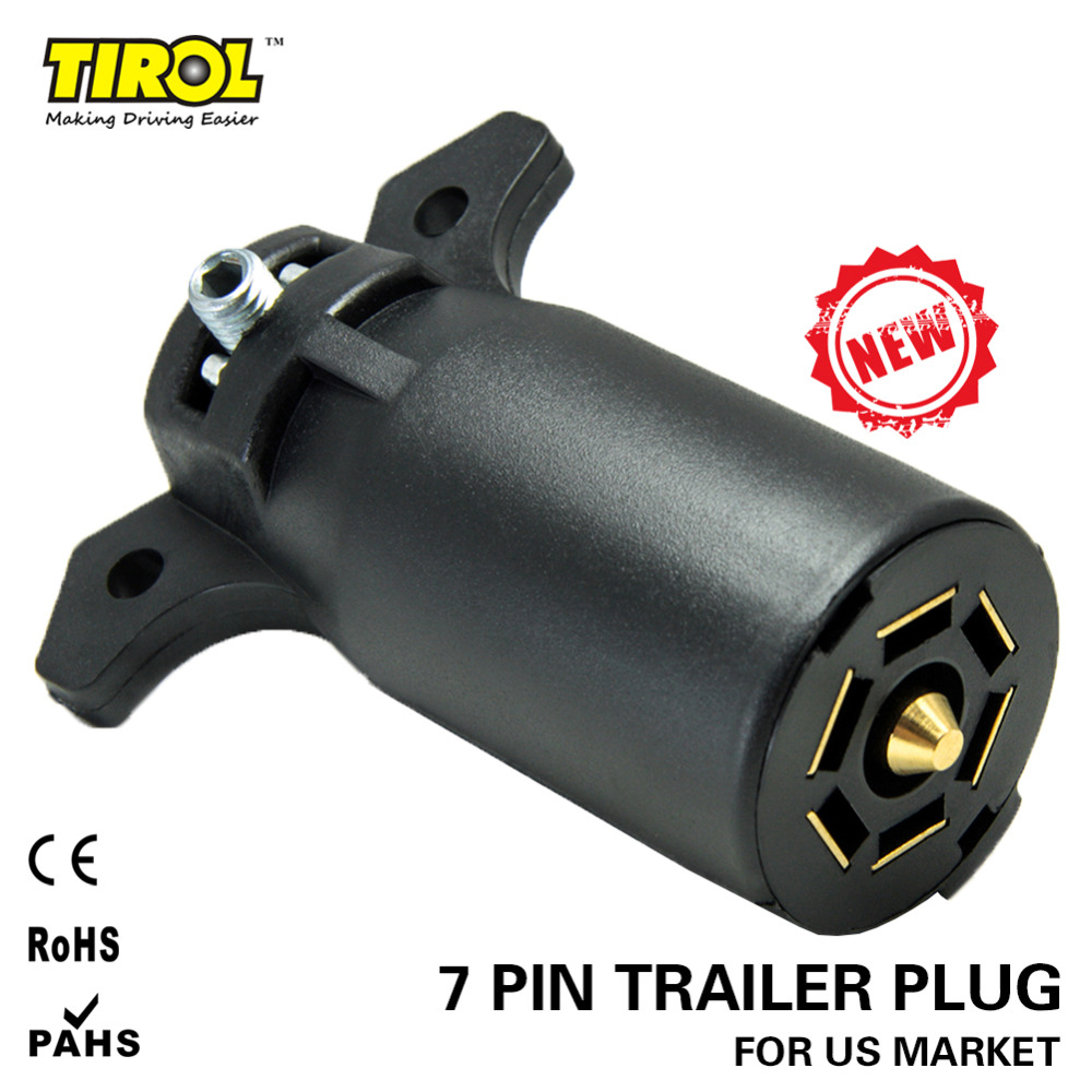 TIROL 7 Way Trailer Plastic Plug 7 Way RV Blade Connector Trailer Adapter 12V Tow bar Towing - Trailer End