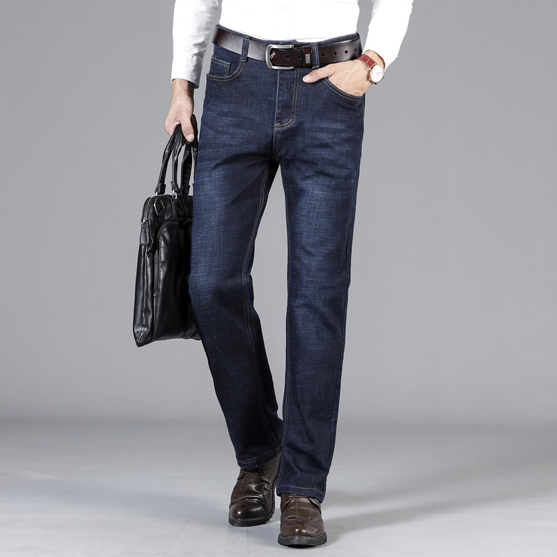 2019 New Classical   Jeans   Men Straight Fit Casual Denim Trousers Men's Business   Jeans   Large Size Stretch Fashion Smart Long Pants