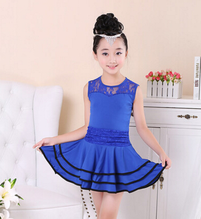 Free shipping red rosy skyblue lace fashion rumba latin dance dress tango competition 110-160cm professional girl child costume