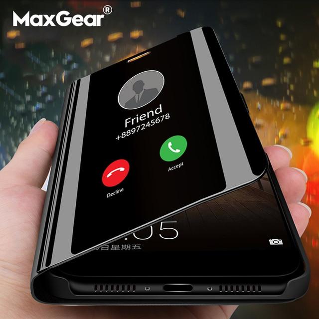 חכם מראה Flip טלפון מקרה לסמסונג גלקסי S9 S10 S8 S7 S6 קצה בתוספת S10E תצוגה ברורה כיסוי עבור סמסונג הערה 9 8 5 4 3 מקרה