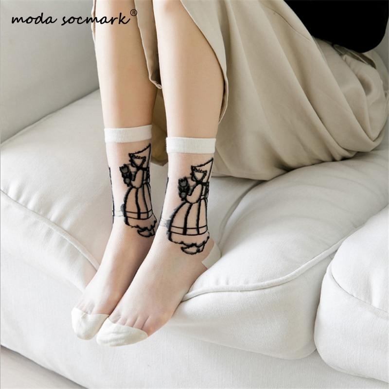 Moda Socmark New Arrival Women Socks Print Grils Sheer Mesh Glass Silk Socks Ultrathin Transparent Crystal Lace Summer Long Sock