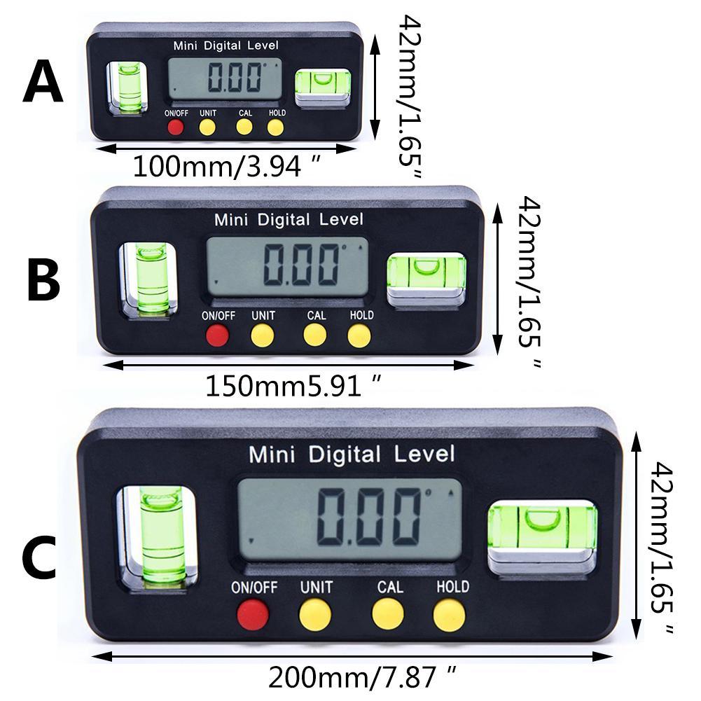 Magnetische Elektronische Digital Display Ebene Horizontale Neigungsmesser Winkel Lineal 100mm 150mm 200mm