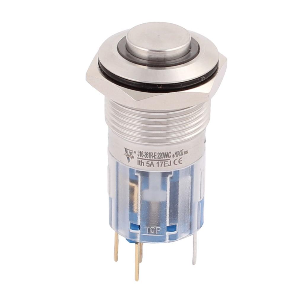 AC 220V 16mm 0.63 Mounting Thread Waterproof Press Switch High Round 1NO 1NC SPDT Latching Metal Push Button Switch Red Light [vk] ub215skg036f 1jb switch push spdt 0 4va 28v switch